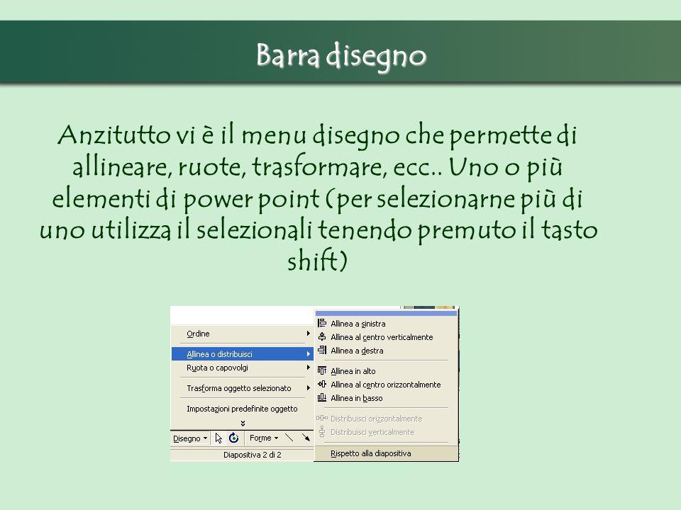 Barra disegno Anzitutto vi è il menu disegno che permette di allineare, ruote, trasformare, ecc.. Uno o più elementi di power point (per selezionarne