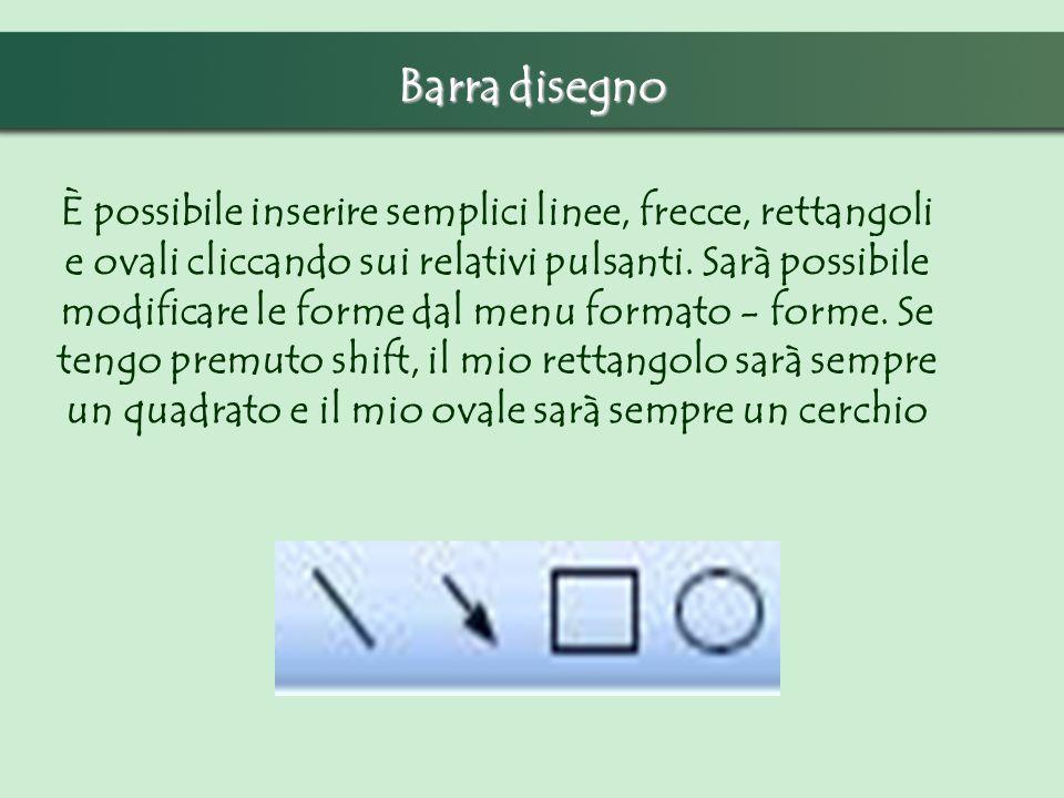 Barra disegno È possibile inserire semplici linee, frecce, rettangoli e ovali cliccando sui relativi pulsanti. Sarà possibile modificare le forme dal