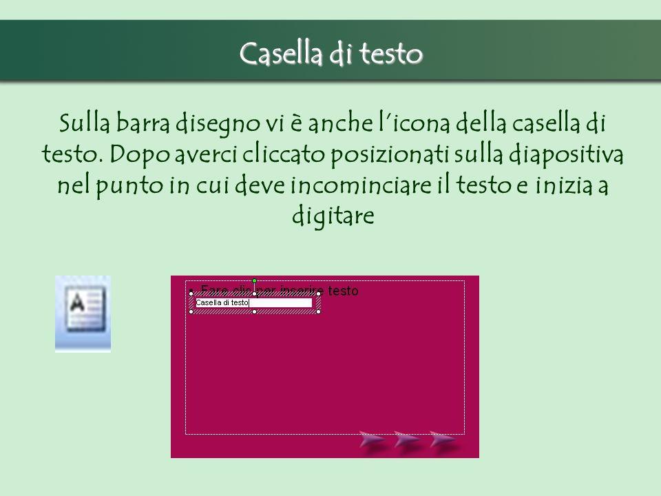 Casella di testo Sulla barra disegno vi è anche licona della casella di testo. Dopo averci cliccato posizionati sulla diapositiva nel punto in cui dev