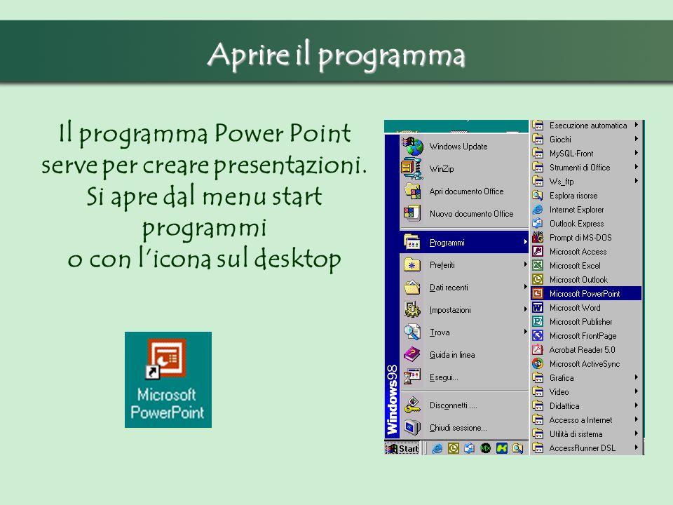 Aprire il programma Il programma Power Point serve per creare presentazioni.