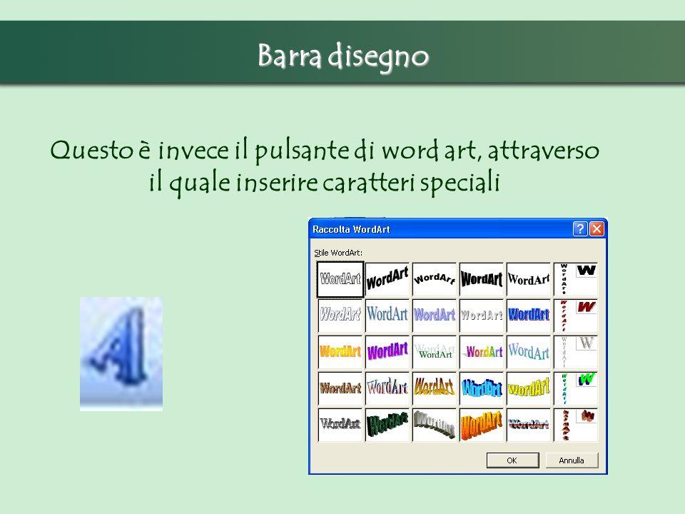 Barra disegno Questo è invece il pulsante di word art, attraverso il quale inserire caratteri speciali