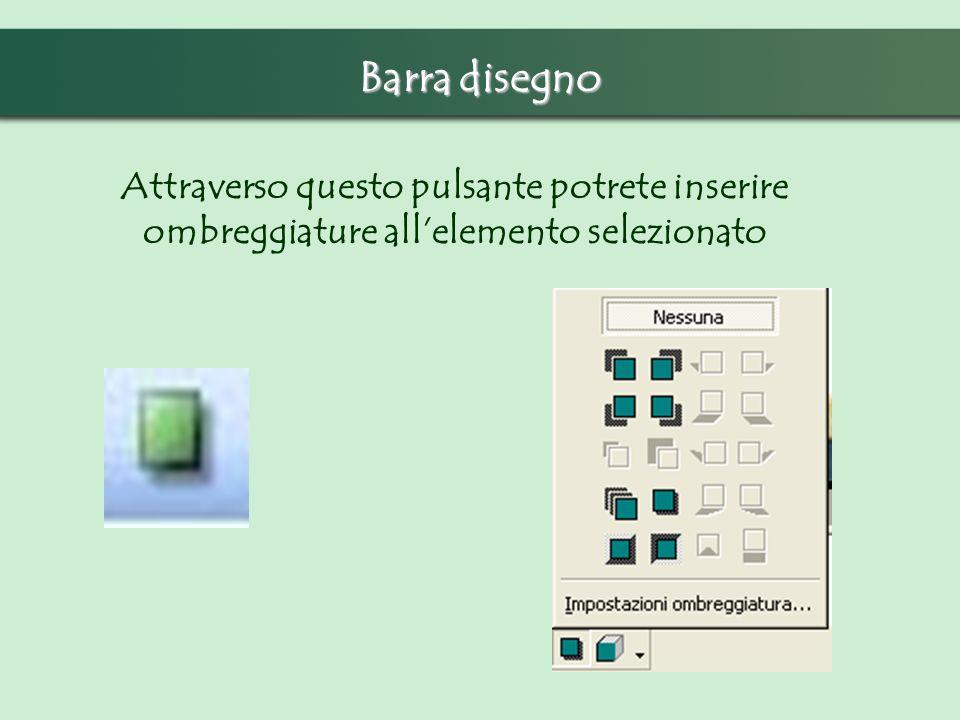 Barra disegno Attraverso questo pulsante potrete inserire ombreggiature allelemento selezionato