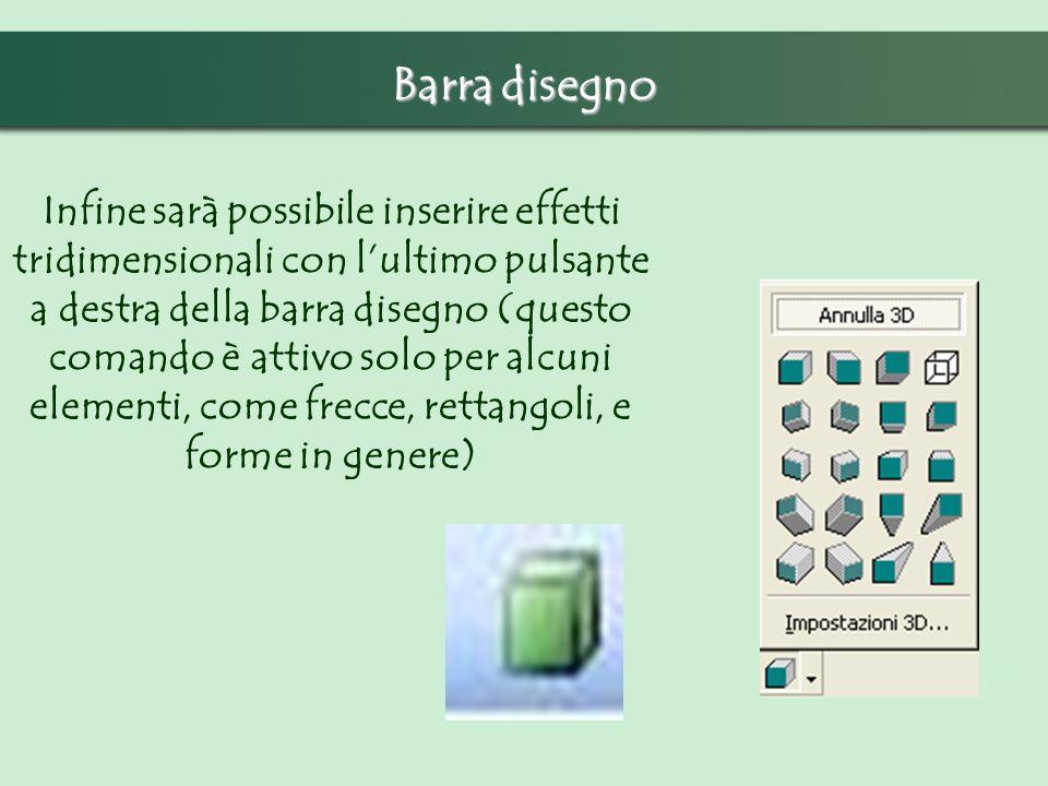 Barra disegno Infine sarà possibile inserire effetti tridimensionali con lultimo pulsante a destra della barra disegno (questo comando è attivo solo per alcuni elementi, come frecce, rettangoli, e forme in genere)