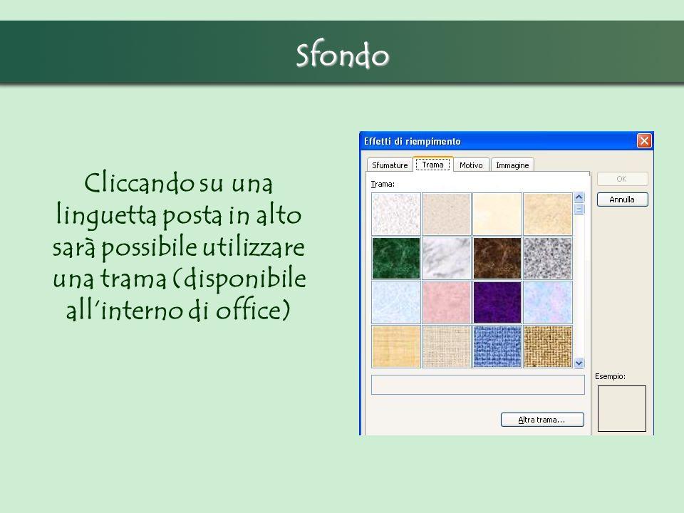 Sfondo Cliccando su una linguetta posta in alto sarà possibile utilizzare una trama (disponibile allinterno di office)