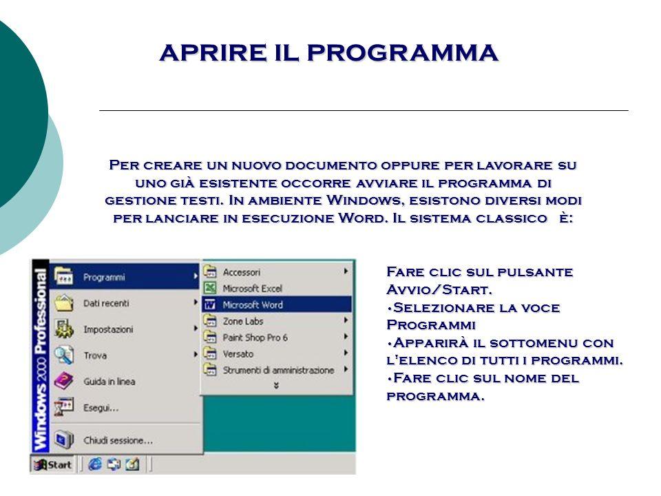 Aprire il programma Un altra possibilità per lanciare in esecuzione Word è individuare l icona sul Desktop e fare doppio clic su di essa