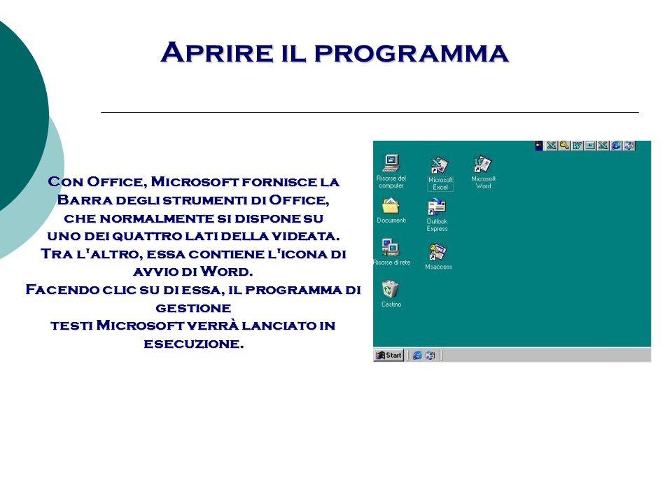 Aprire il programma Fatto questo apparirà sullo schermo la finestra di Word.