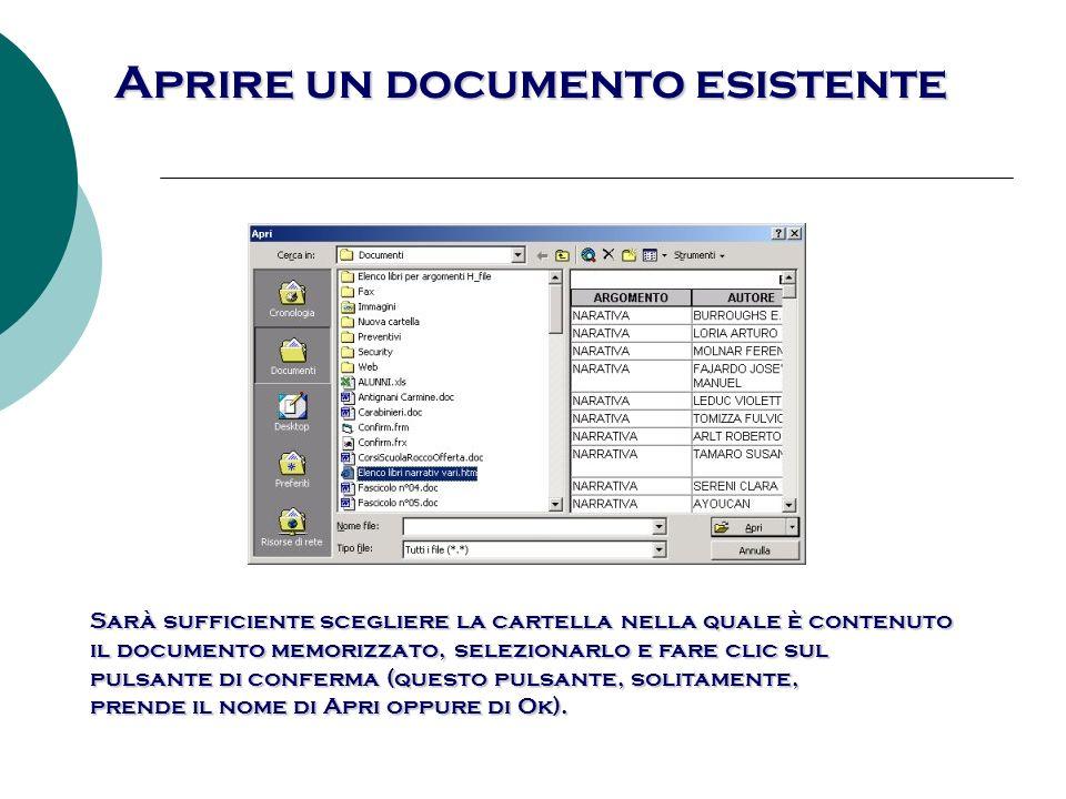 Aprire un documento esistente Word, permette la scelta del documento da aprire da diversi criteri.