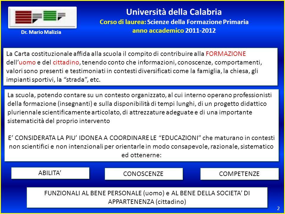 Università della Calabria Corso di laurea: Scienze della Formazione Primaria anno accademico 2011-2012 2 Dr.