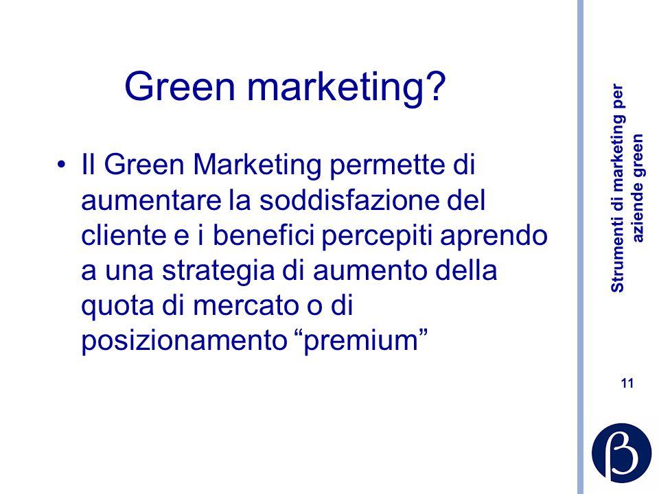 Strumenti di marketing per aziende green 11 Green marketing.