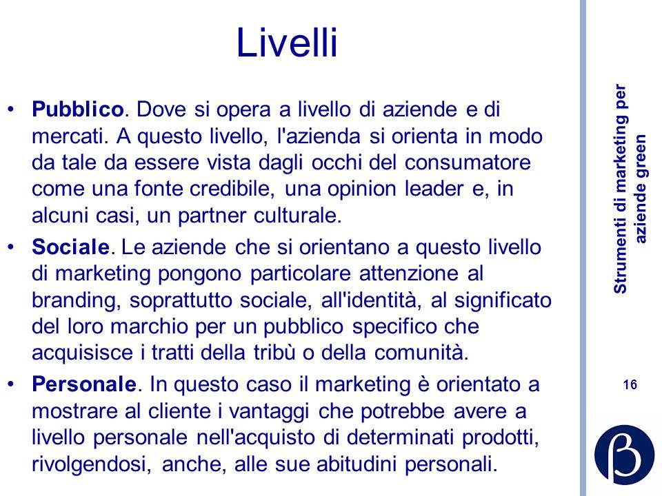 Strumenti di marketing per aziende green 16 Livelli Pubblico.