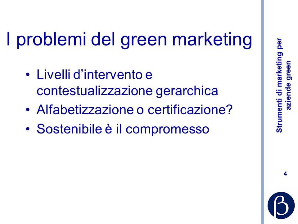 Strumenti di marketing per aziende green 4 I problemi del green marketing Livelli dintervento e contestualizzazione gerarchica Alfabetizzazione o certificazione.