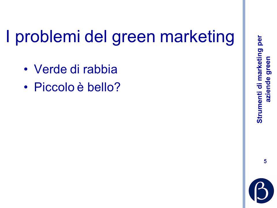 Strumenti di marketing per aziende green 5 I problemi del green marketing Verde di rabbia Piccolo è bello