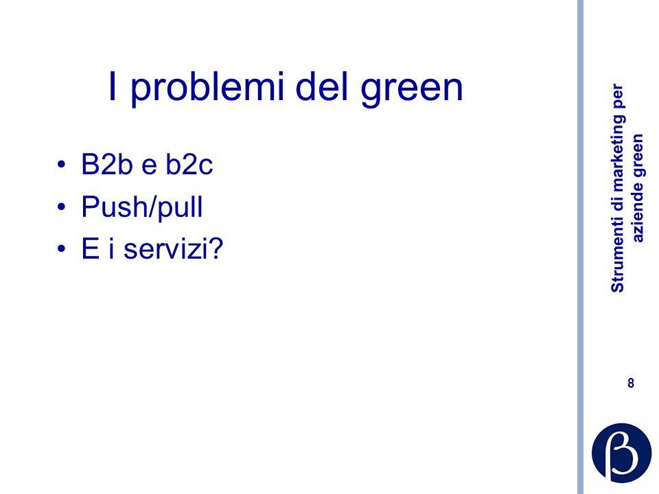 Strumenti di marketing per aziende green 8 I problemi del green B2b e b2c Push/pull E i servizi
