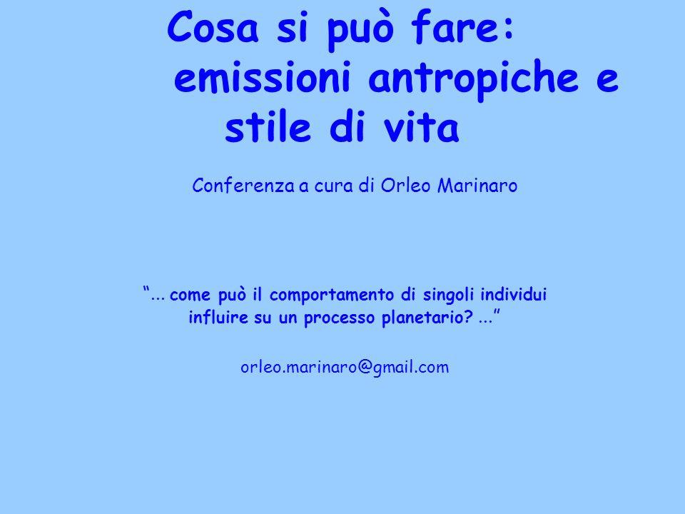 Cosa si può fare: emissioni antropiche e stile di vita Conferenza a cura di Orleo Marinaro... come può il comportamento di singoli individui influire