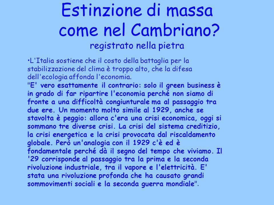 Estinzione di massa come nel Cambriano? registrato nella pietra L'Italia sostiene che il costo della battaglia per la stabilizzazione del clima è trop