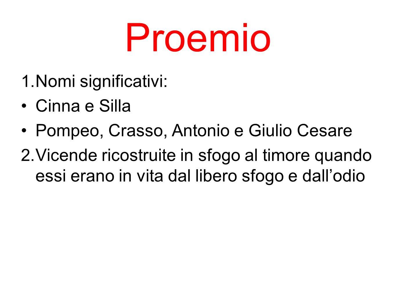 Proemio 1. Nomi significativi: Cinna e Silla Pompeo, Crasso, Antonio e Giulio Cesare 2. Vicende ricostruite in sfogo al timore quando essi erano in vi