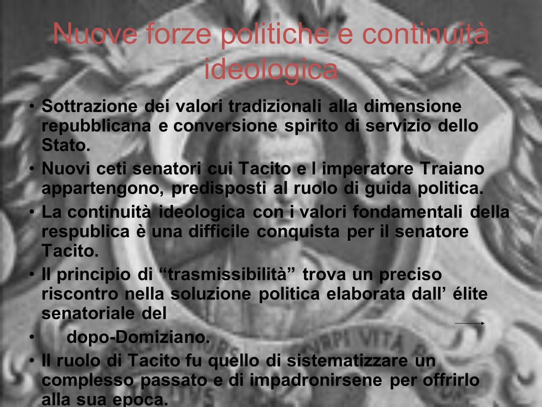 Nuove forze politiche e continuità ideologica Sottrazione dei valori tradizionali alla dimensione repubblicana e conversione spirito di servizio dello