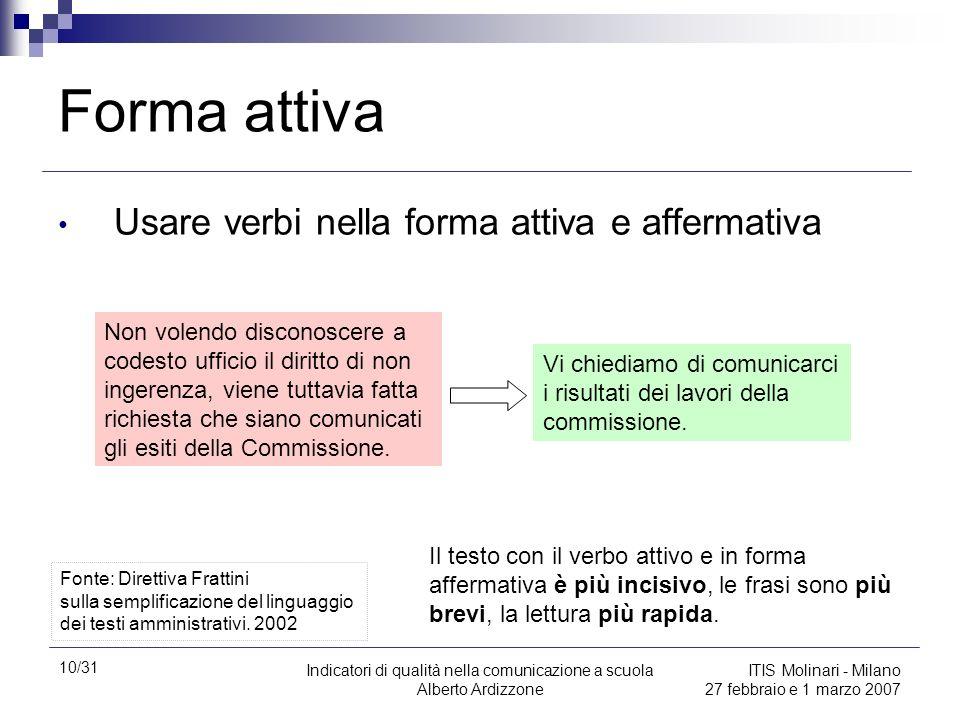 10/31 Indicatori di qualità nella comunicazione a scuola Alberto Ardizzone ITIS Molinari - Milano 27 febbraio e 1 marzo 2007 Forma attiva Usare verbi