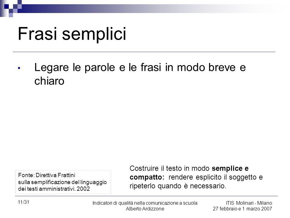 11/31 Indicatori di qualità nella comunicazione a scuola Alberto Ardizzone ITIS Molinari - Milano 27 febbraio e 1 marzo 2007 Frasi semplici Legare le