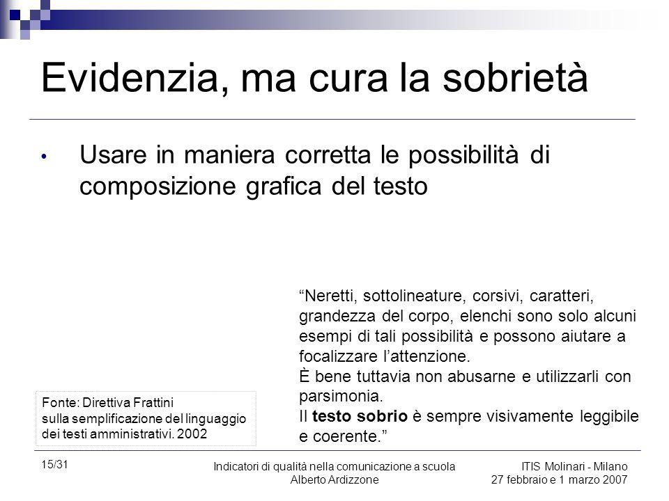 15/31 Indicatori di qualità nella comunicazione a scuola Alberto Ardizzone ITIS Molinari - Milano 27 febbraio e 1 marzo 2007 Evidenzia, ma cura la sob