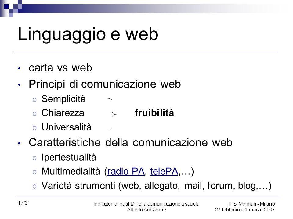 17/31 Indicatori di qualità nella comunicazione a scuola Alberto Ardizzone ITIS Molinari - Milano 27 febbraio e 1 marzo 2007 Linguaggio e web carta vs