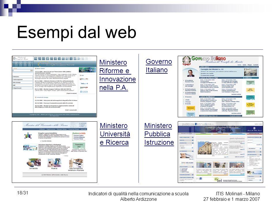 18/31 Indicatori di qualità nella comunicazione a scuola Alberto Ardizzone ITIS Molinari - Milano 27 febbraio e 1 marzo 2007 Esempi dal web Ministero