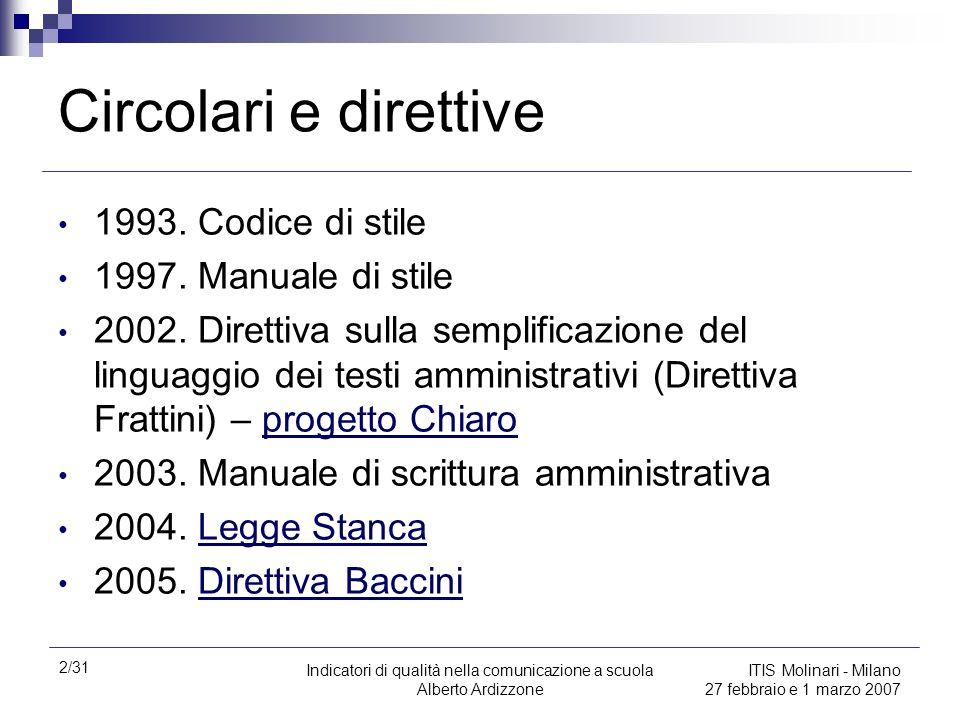 2/31 Indicatori di qualità nella comunicazione a scuola Alberto Ardizzone ITIS Molinari - Milano 27 febbraio e 1 marzo 2007 Circolari e direttive 1993