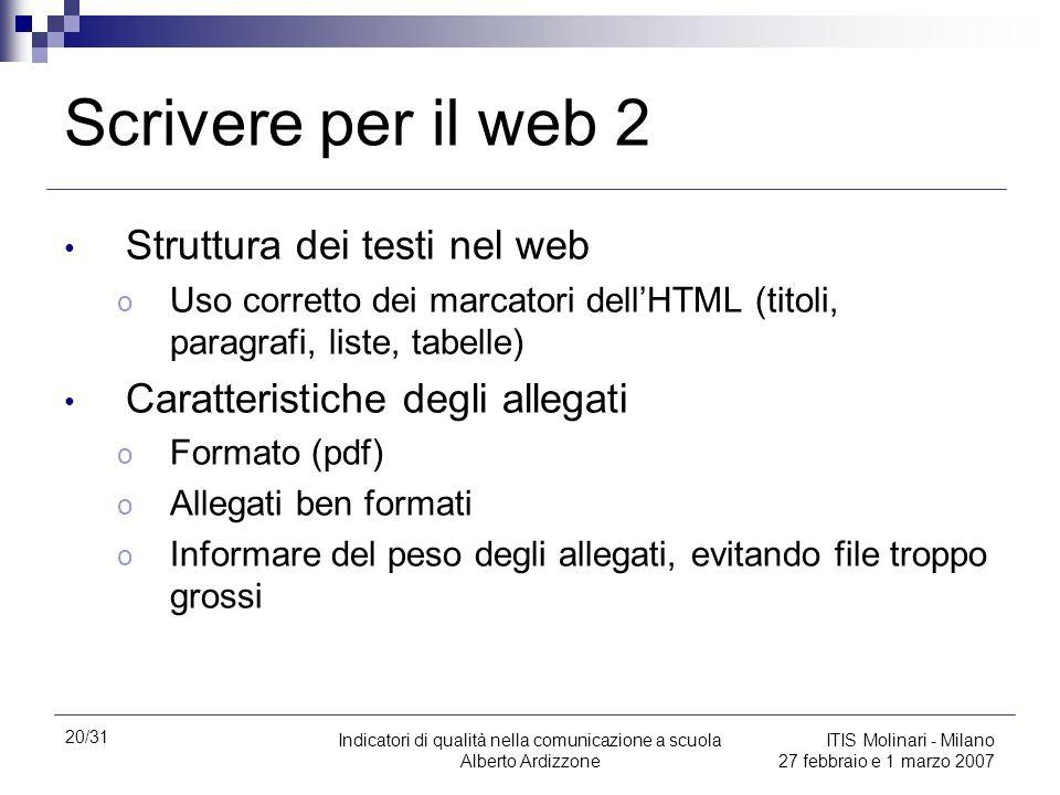 20/31 Indicatori di qualità nella comunicazione a scuola Alberto Ardizzone ITIS Molinari - Milano 27 febbraio e 1 marzo 2007 Scrivere per il web 2 Str