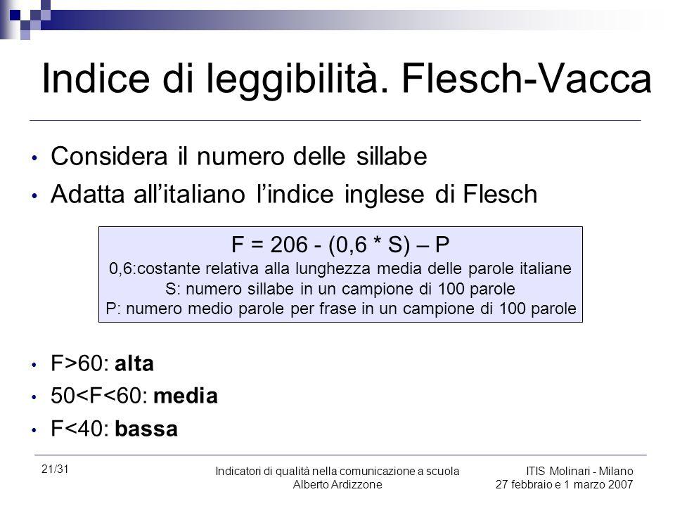 21/31 Indicatori di qualità nella comunicazione a scuola Alberto Ardizzone ITIS Molinari - Milano 27 febbraio e 1 marzo 2007 Indice di leggibilità. Fl
