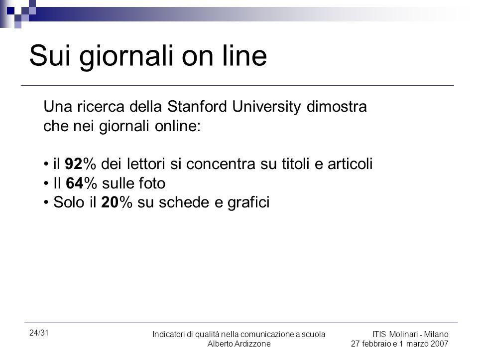 24/31 Indicatori di qualità nella comunicazione a scuola Alberto Ardizzone ITIS Molinari - Milano 27 febbraio e 1 marzo 2007 Sui giornali on line Una