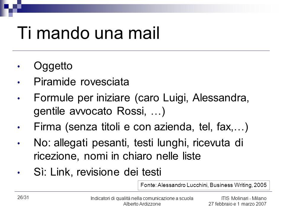 26/31 Indicatori di qualità nella comunicazione a scuola Alberto Ardizzone ITIS Molinari - Milano 27 febbraio e 1 marzo 2007 Ti mando una mail Oggetto