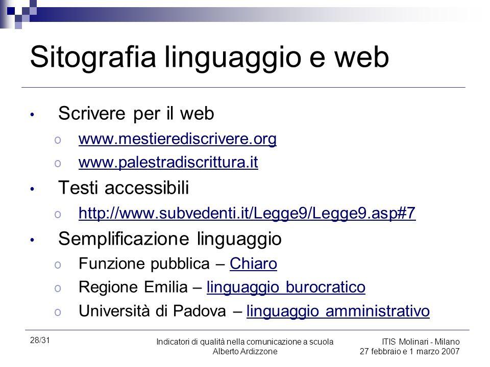 28/31 Indicatori di qualità nella comunicazione a scuola Alberto Ardizzone ITIS Molinari - Milano 27 febbraio e 1 marzo 2007 Sitografia linguaggio e w