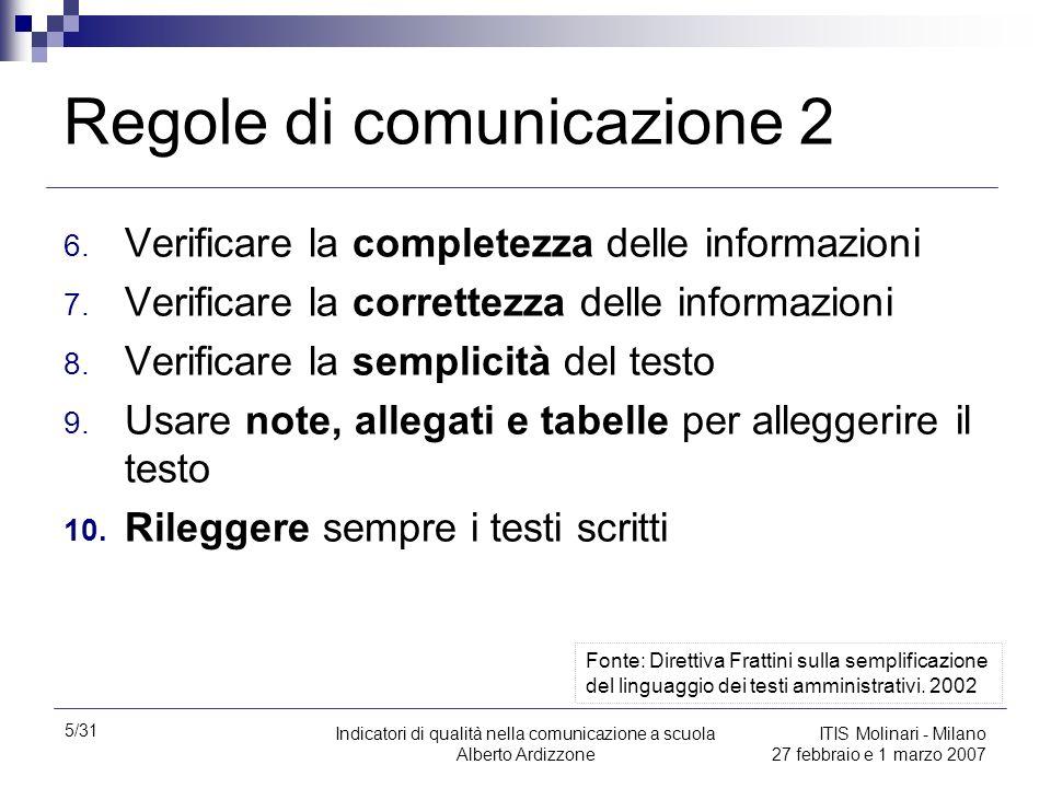 5/31 Indicatori di qualità nella comunicazione a scuola Alberto Ardizzone ITIS Molinari - Milano 27 febbraio e 1 marzo 2007 Regole di comunicazione 2