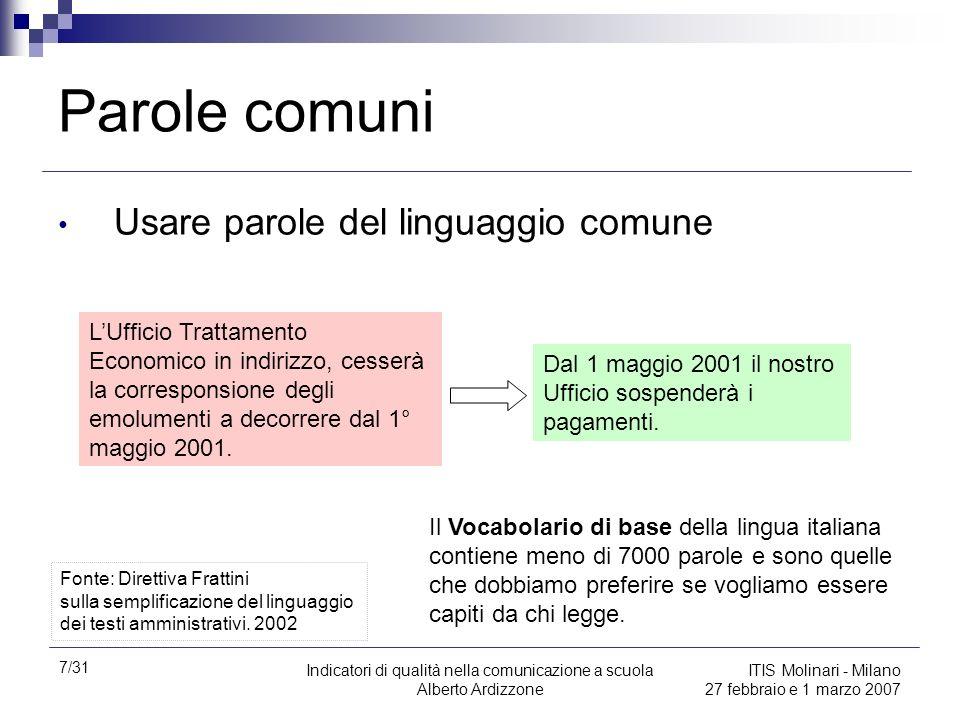 7/31 Indicatori di qualità nella comunicazione a scuola Alberto Ardizzone ITIS Molinari - Milano 27 febbraio e 1 marzo 2007 Parole comuni Usare parole