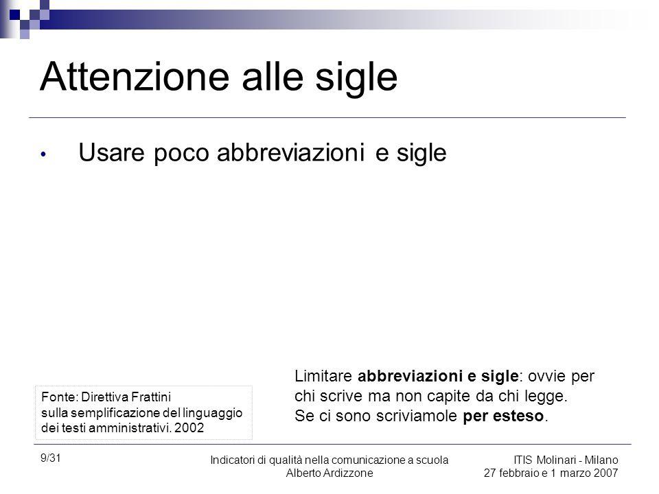 9/31 Indicatori di qualità nella comunicazione a scuola Alberto Ardizzone ITIS Molinari - Milano 27 febbraio e 1 marzo 2007 Attenzione alle sigle Usar