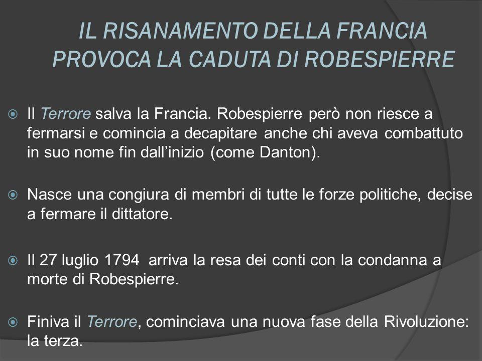 IL RISANAMENTO DELLA FRANCIA PROVOCA LA CADUTA DI ROBESPIERRE Il Terrore salva la Francia. Robespierre però non riesce a fermarsi e comincia a decapit