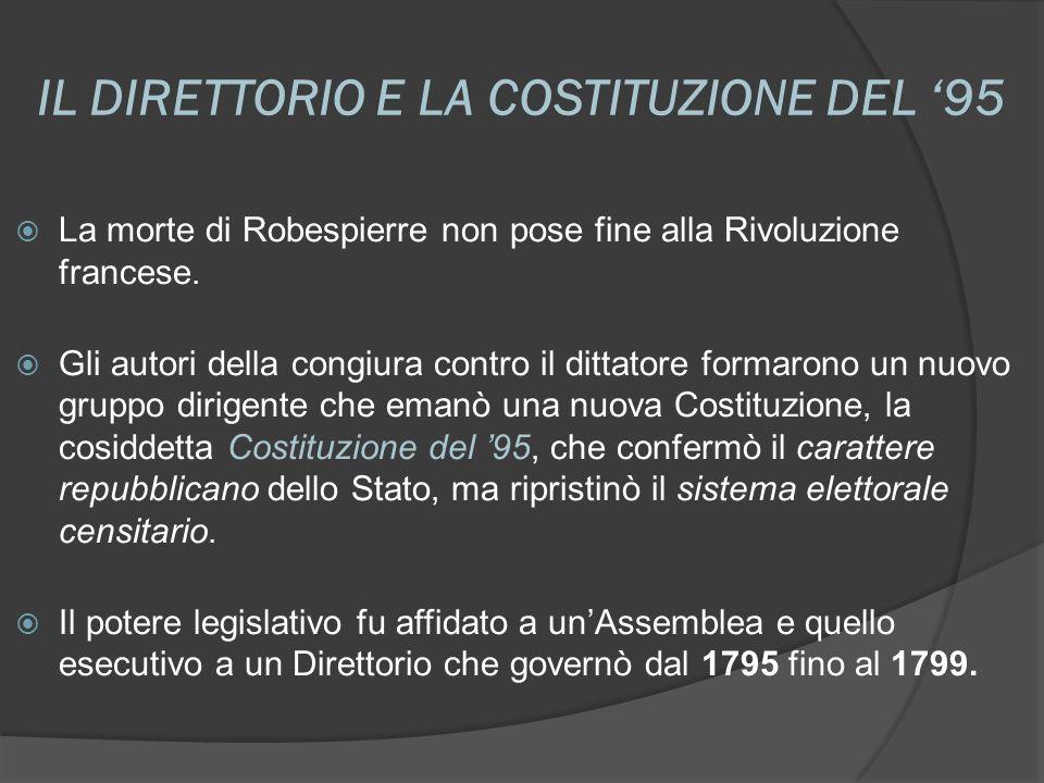 IL DIRETTORIO E LA COSTITUZIONE DEL 95 La morte di Robespierre non pose fine alla Rivoluzione francese. Gli autori della congiura contro il dittatore