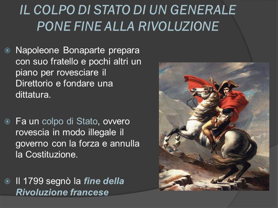 IL COLPO DI STATO DI UN GENERALE PONE FINE ALLA RIVOLUZIONE Napoleone Bonaparte prepara con suo fratello e pochi altri un piano per rovesciare il Dire