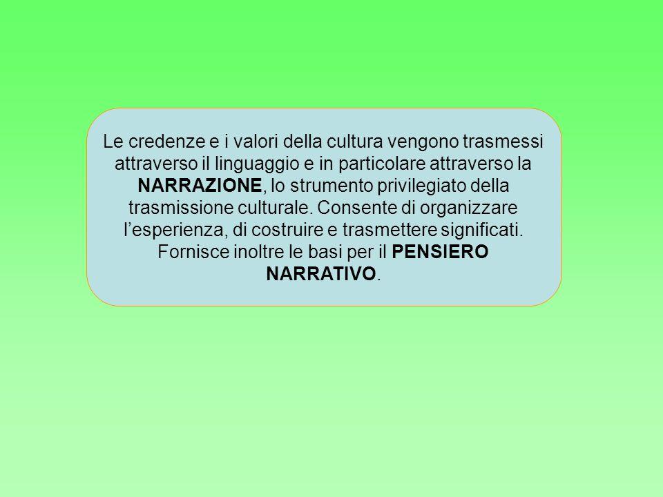 Le credenze e i valori della cultura vengono trasmessi attraverso il linguaggio e in particolare attraverso la NARRAZIONE, lo strumento privilegiato d