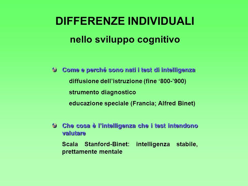DIFFERENZE INDIVIDUALI nello sviluppo cognitivo Come e perché sono nati i test di intelligenza diffusione dellistruzione (fine 800-900) strumento diag