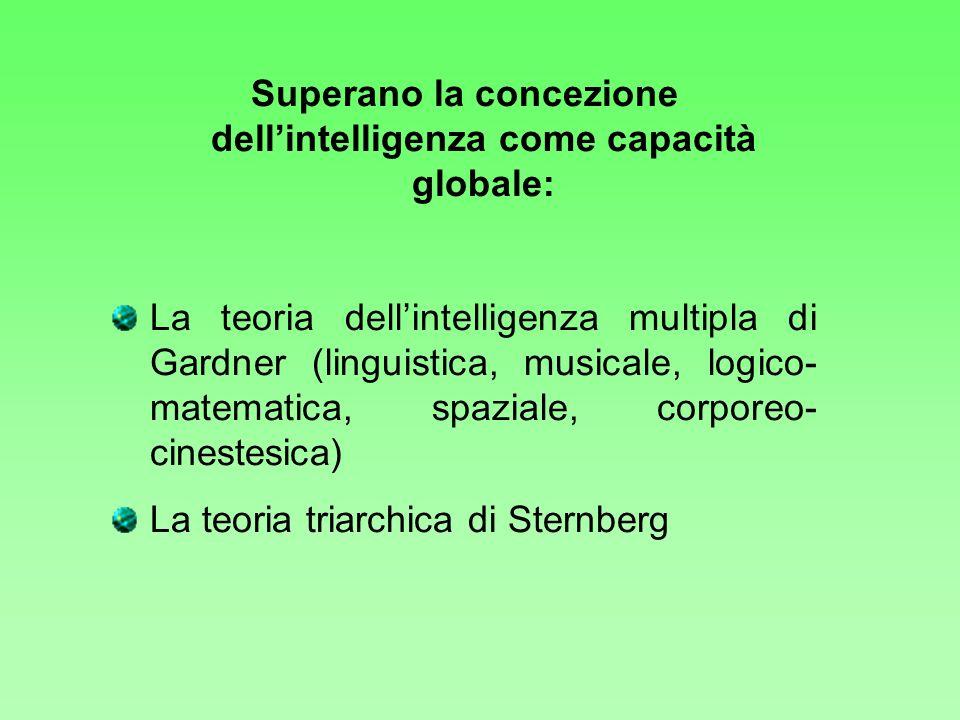 Superano la concezione dellintelligenza come capacità globale: La teoria dellintelligenza multipla di Gardner (linguistica, musicale, logico- matemati