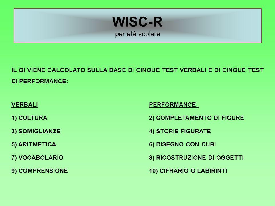 WISC-R per età scolare IL QI VIENE CALCOLATO SULLA BASE DI CINQUE TEST VERBALI E DI CINQUE TEST DI PERFORMANCE: VERBALIPERFORMANCE 1) CULTURA2) COMPLE