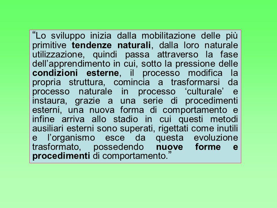 Lo sviluppo inizia dalla mobilitazione delle più primitive tendenze naturali, dalla loro naturale utilizzazione, quindi passa attraverso la fase della
