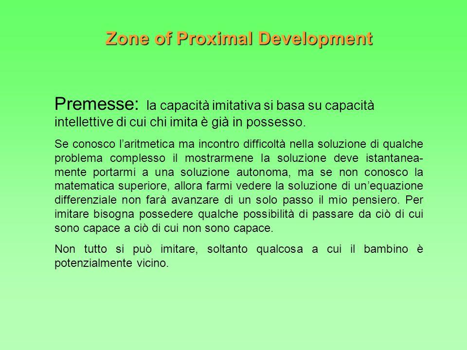 Zone of Proximal Development Premesse: la capacità imitativa si basa su capacità intellettive di cui chi imita è già in possesso. Se conosco laritmeti