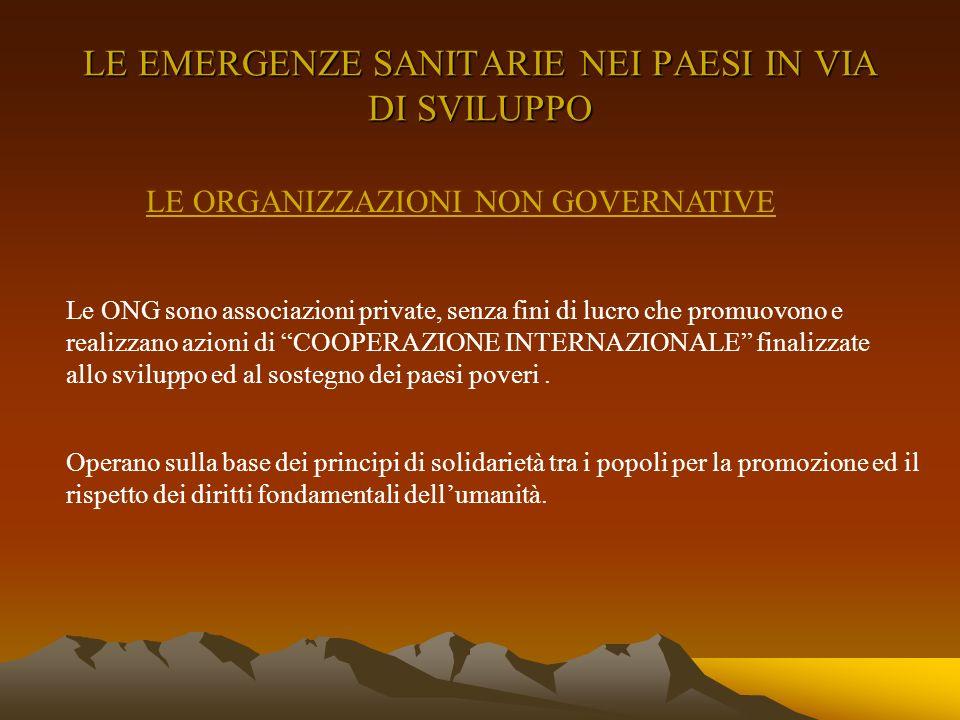 A queste emergenze la comunità internazionale risponde soprattutto tramite le istituzioni internazionali (ONU, ALTO COMMISSARIATO PER I RIFUGIATI, FAO