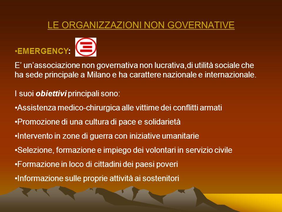 LE ORGANIZZAZIONI NON GOVERNATIVE CROCE ROSSA INTERNAZIONALE: Il movimento internazionale della croce rossa rappresenta una forza di 120 milioni di pe