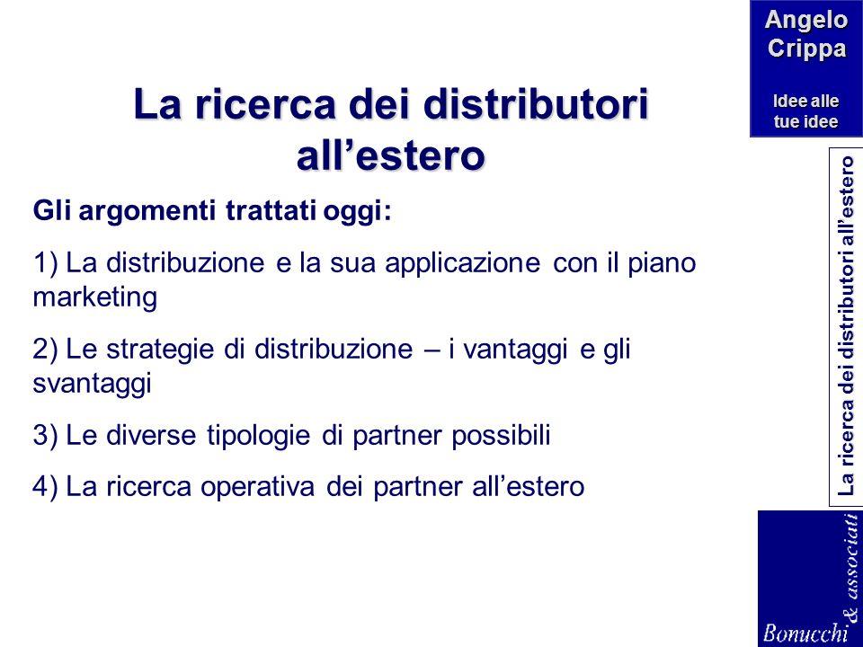 Angelo Crippa Idee alle tue idee La ricerca dei distributori allestero a cura di Angelo Crippa – studio di consulenza di direzione www.angelocrippa.it