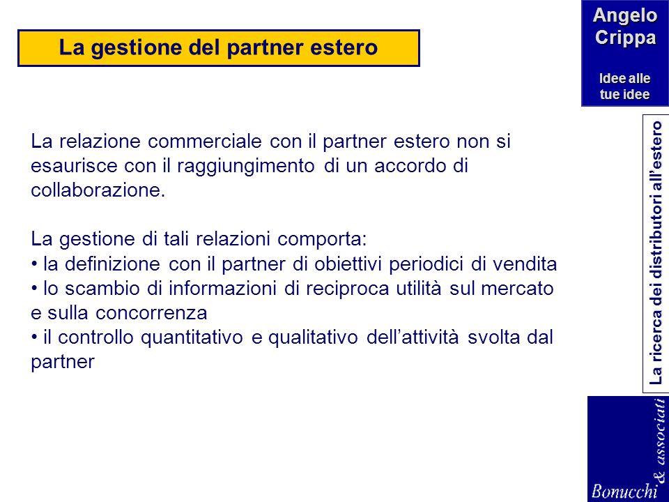 Angelo Crippa Idee alle tue idee La ricerca dei distributori allestero La valutazione del partner estero Nella valutazione dei candidati è consigliabi