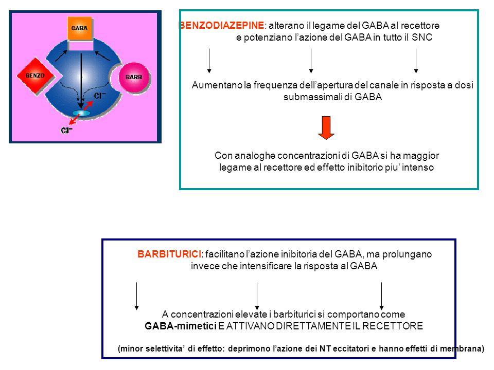 richiede rilascio di GABA Al contrario dei Barbiturici Ad alte dosi, attivano il recettore GABA e causano profonda depressione del SNC Safety profile delle benzodiazepine : deriva dalla natura auto limitante della depressione indotta da benzodiazepine Al contrario dei barbiturici: le benzodiazepine non causano nessun effetto in assenza di GABA