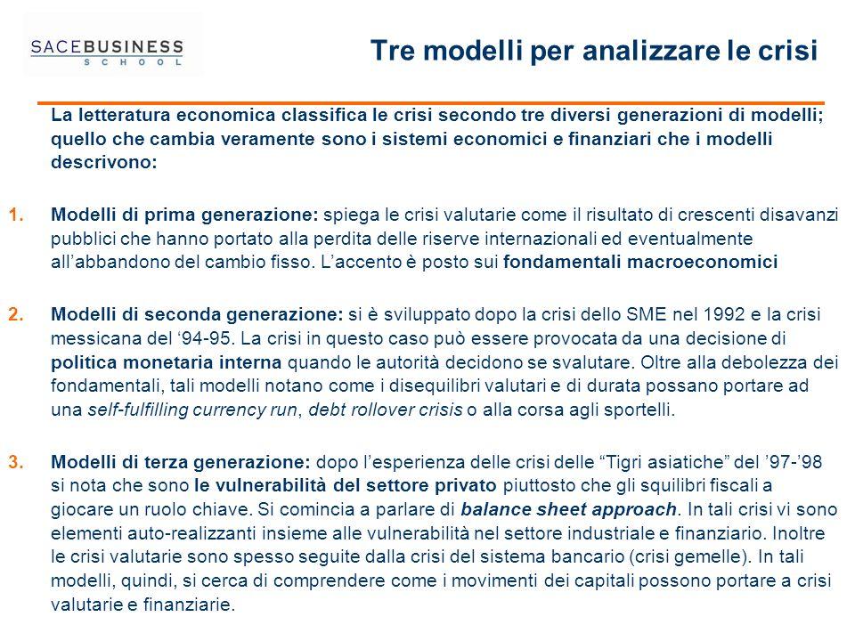 Tre modelli per analizzare le crisi La letteratura economica classifica le crisi secondo tre diversi generazioni di modelli; quello che cambia veramen